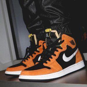 Air Jordan1 black yellow brown high top